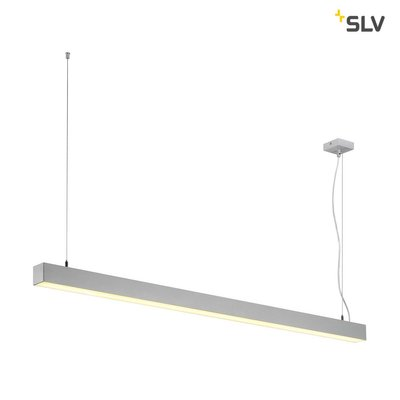 Q-LINE DALI SINGLE LED, pendant, dimmable, 1500mm, silver