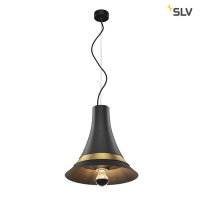 BATO 35 PD, Indoor pendant light, black/brass, E27, max. 60W