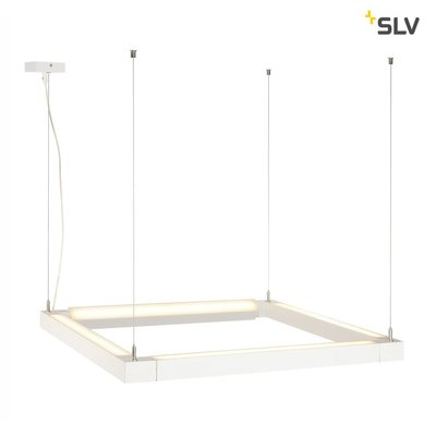 OPEN GRILL LED, double twist pendant, square, white