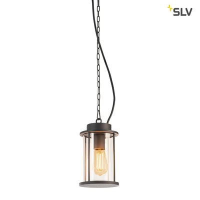 PHOTONIA E27, Outdoor pendant, anthracite, incl. 5m chain and connection cable with open cable end, max.60W, IP44